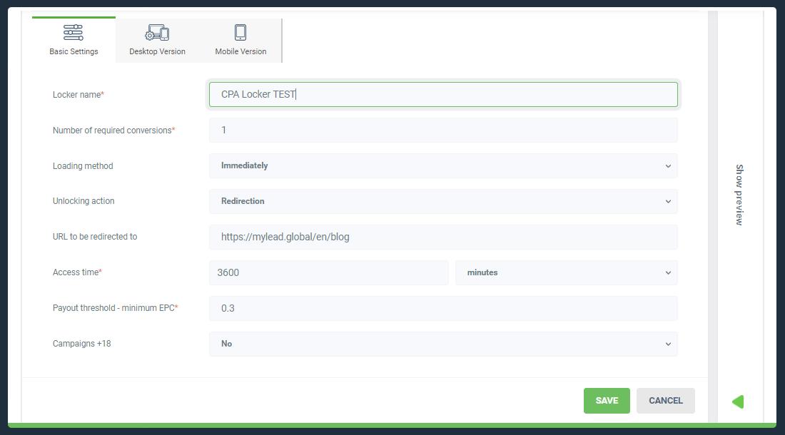 Basic settings of CPA Locker summary