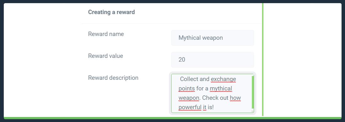 Reward name, value and description
