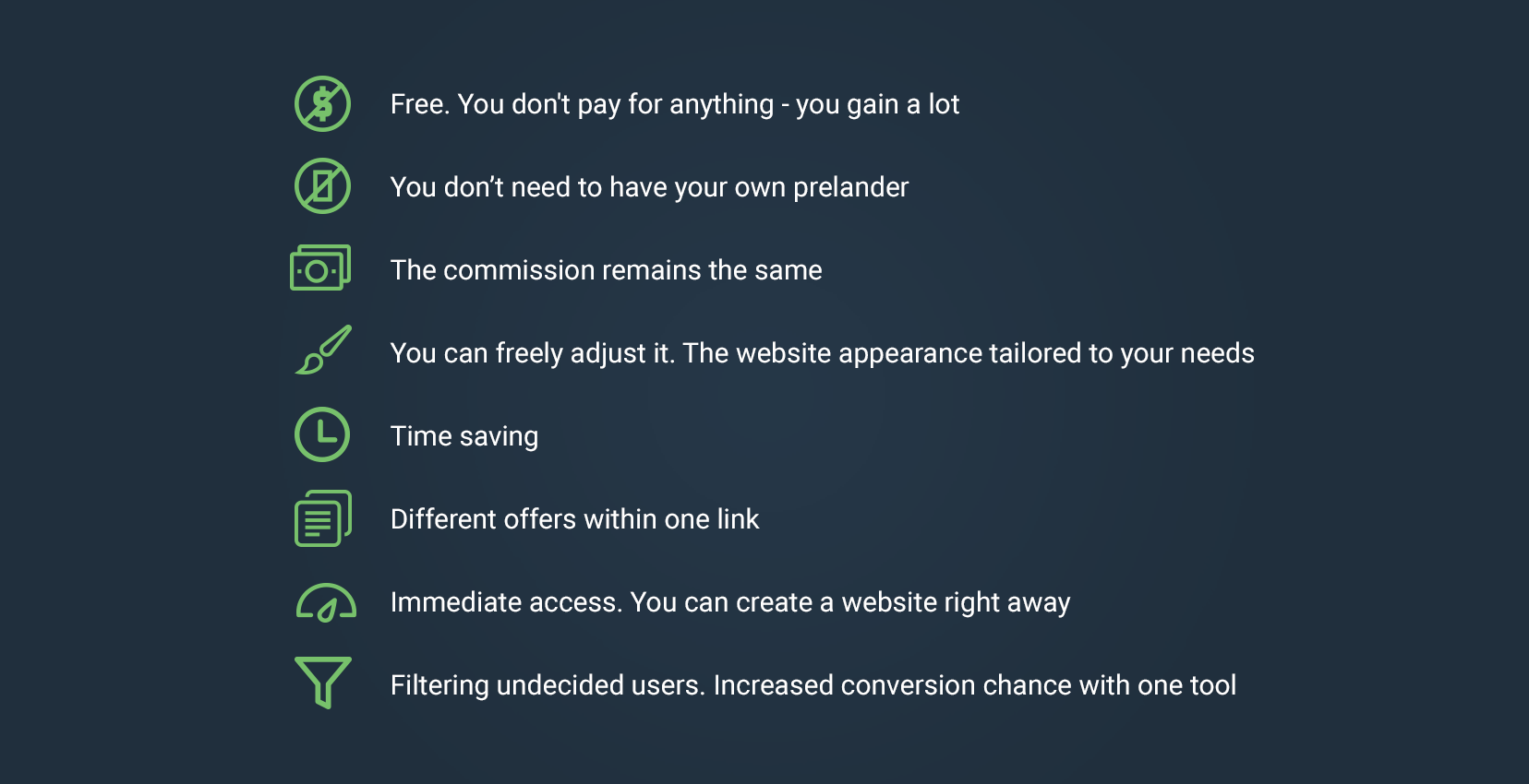 Advantages of the offers page