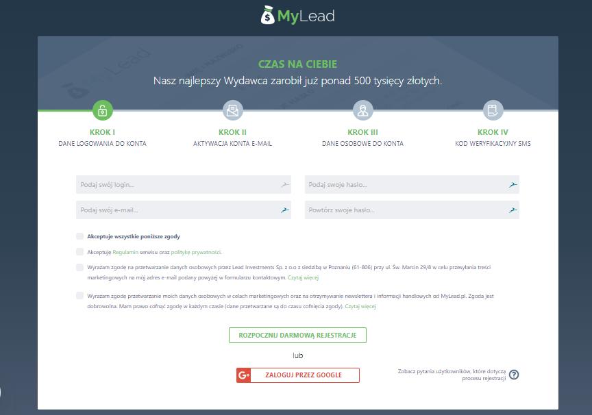 Załóż darmowe konto na MyLead